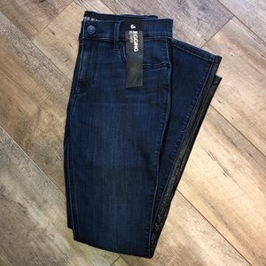 Express Denim Legging with Faux Leather - 6R NWT